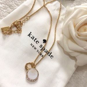 Kate Spade gold logo mother of pearl necklace